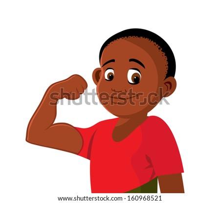 Cartoon Vector Illustration Of A Boy Strong Flexing