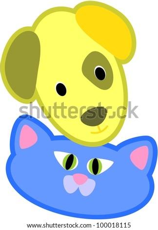 Cartoon vector illustration of a cat and dog head - stock vector