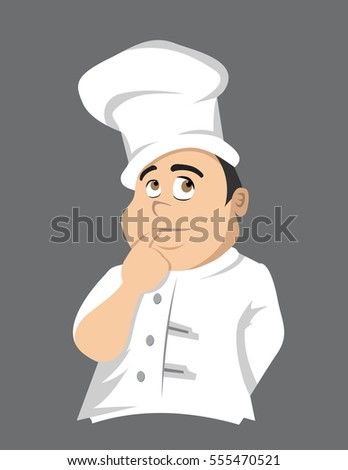 cartoon vector illustration of a chef thinking