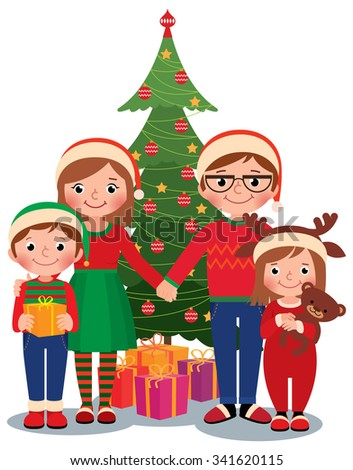 Cartoon vector illustration of a family at the Christmas tree with gifts isolated on white background/Family at Christmas tree with gifts/Cartoon vector illustration - stock vector