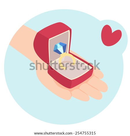 Cartoon vector illustration of a hand holding a giftwrapped red romantic Valentines or anniversary gift with a symbolic heart above