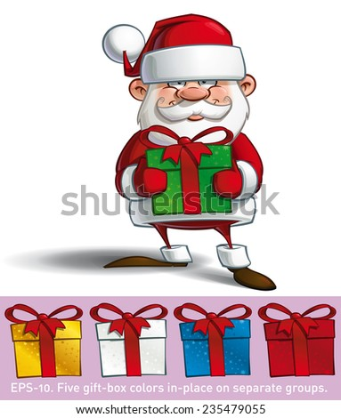Cartoon vector illustration of a happy Santa Claus holding a big gift. All gift colors are in-place in separate groups. - stock vector