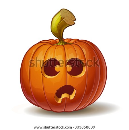 Cartoon vector illustration of a Jack-O-Lantern pumpkin curved in a funny expression, isolated on white. Neatly organized and easy to edit EPS-10 - stock vector