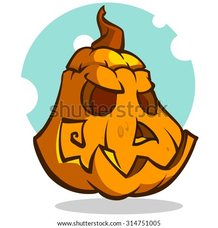 Cartoon vector illustration of a Jack-O-Lantern pumpkin curved in a scary expression, isolated on white. Neatly organized and easy to edit EPS-10. Halloween decoration