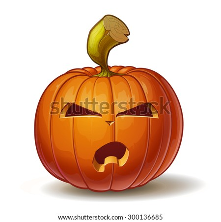 Cartoon vector illustration of a Jack-O-Lantern pumpkin curved in an angry expression, isolated on white. Neatly organized and easy to edit EPS-10 - stock vector