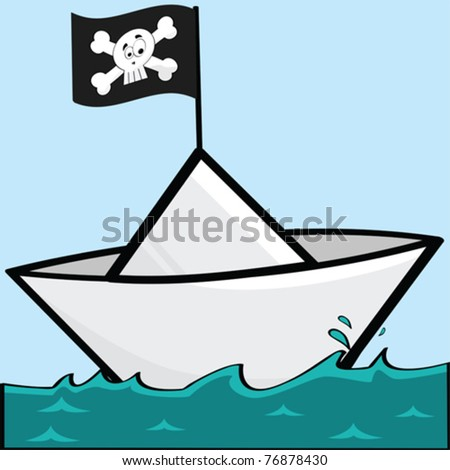 Cartoon vector illustration of a paper boat with a pirate flag