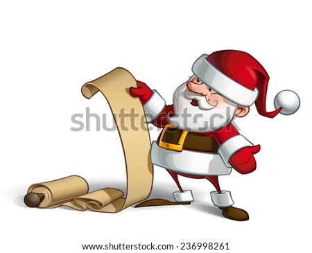 Cartoon vector illustration of a smiling Santa Claus holding a scroll with the gift list. - stock vector
