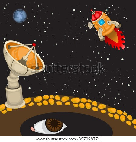 Cartoon vector illustration of a space rocket preparing to land on a newly discovered planet. - stock vector