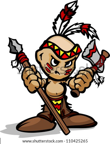 Cartoon Vector Illustration of a Tough Kid Indian Brave with Spear and Tomahawk in Hands - stock vector