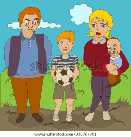 Cartoon vector illustration of a young family portrait standing outdoor. - stock vector