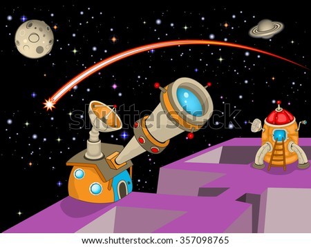 Cartoon vector illustration of an astronomy observatory with a rocket ready to fly.