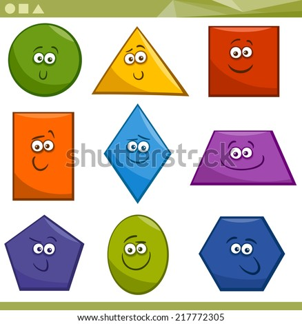 Cartoon Vector Illustration of Basic Geometric Shapes Funny Characters for Children Education - stock vector