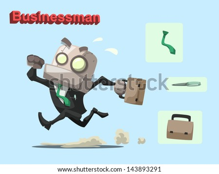 Cartoon vector illustration of businessman robot with pen, briefcase and necktie