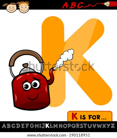 Cartoon Vector Illustration of Capital Letter K from Alphabet with Kettle for Children Education - stock vector