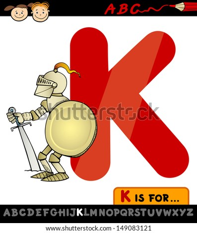 Cartoon Vector Illustration of Capital Letter K from Alphabet with Knight for Children Education - stock vector
