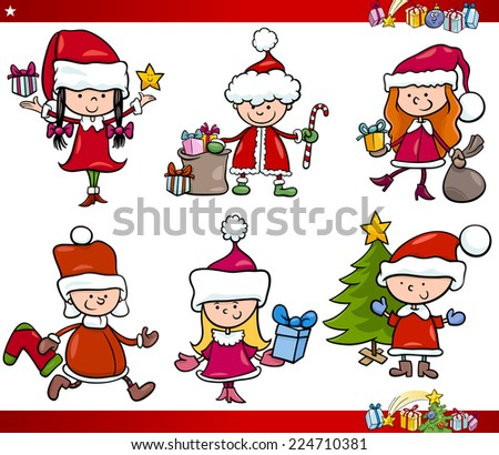 Cartoon Vector Illustration of Children in Santa Claus Costumes with Presents and other Christmas Themes Set - stock vector