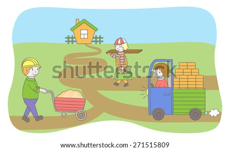 Cartoon vector illustration of construction characters - stock vector