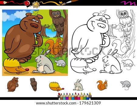 Cartoon Vector Illustration of Cute Forest Wild Animals Group for Coloring Book with Elements Set - stock vector