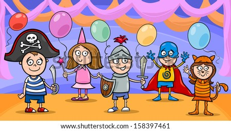 Cartoon Vector Illustration of Cute Little Children in Costumes on Fancy Ball - stock vector