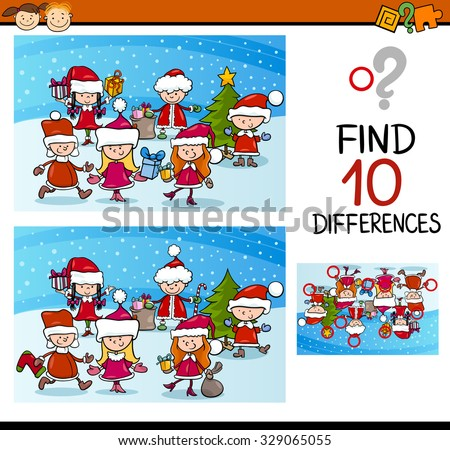 Cartoon Vector Illustration of Differences Educational Task for Preschool Children with Kids Characters on Christmas Time - stock vector