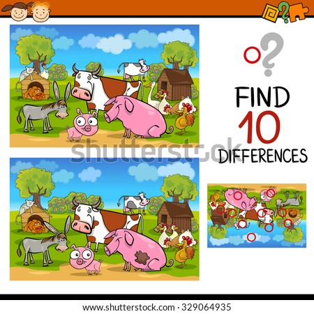 Cartoon Vector Illustration of Differences Educational Test for Preschool Children with Farm Animals - stock vector
