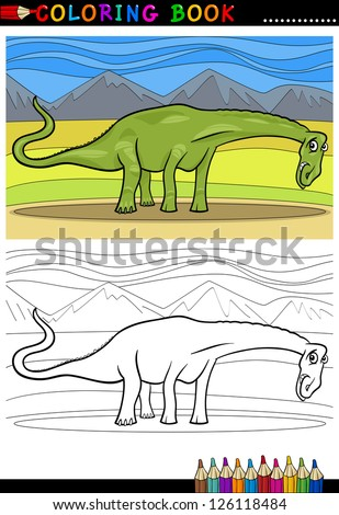 Cartoon Vector Illustration of Diplodocus Dinosaur Reptile Species in Prehistoric World for Coloring Book and Education