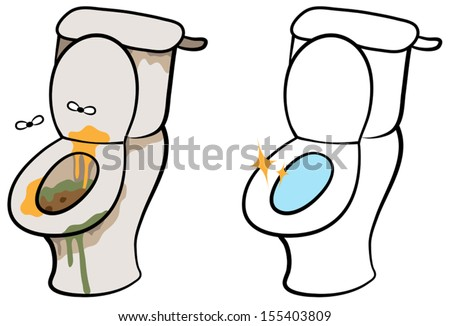 Cartoon vector illustration of dirty and smelly toilet and clean hygienic toilet - stock vector