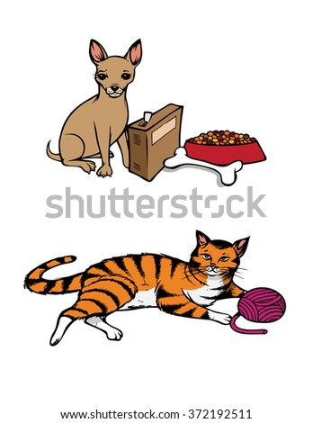 cartoon vector illustration of dog cat pets - stock vector