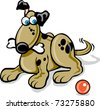 cartoon vector illustration of dog with bone and ball / Dog & Bone - stock vector