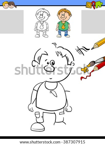 Cartoon Vector Illustration of Drawing and Coloring Educational Task for Preschool Children with Kid Boy Character