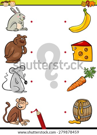 Cartoon Vector Illustration of Education Element Matching Game for Preschool Children with Animals and their Favorite Food - stock vector