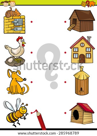 Cartoon Vector Illustration of Education Element Matching Game for Preschool Children with Animals - stock vector