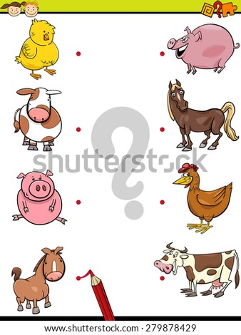 Cartoon Vector Illustration of Education Element Matching Game for Preschool Children with Baby Animals and their Mothers - stock vector