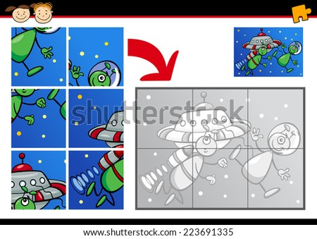 Cartoon Vector Illustration of Education Jigsaw Puzzle Game for Preschool Children with Funny Aliens with Ufo - stock vector