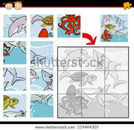 Cartoon Vector Illustration of Education Jigsaw Puzzle Game for Preschool Children with Sea Life Animals or Fish Group - stock vector