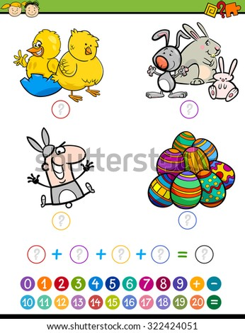 Cartoon Vector Illustration of Education Mathematical Addition Game for Preschool Children with Easter Characters - stock vector