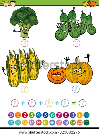 Cartoon Vector Illustration of Education Mathematical Addition Game for Preschool Children with Funny Vegetables - stock vector