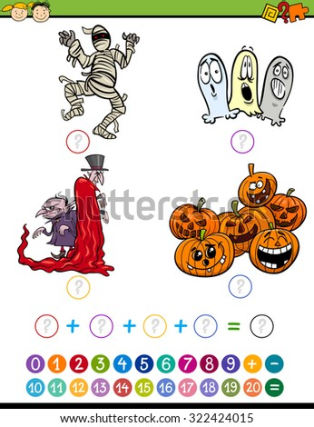 Cartoon Vector Illustration of Education Mathematical Addition Task for Preschool Children with Halloween Characters - stock vector