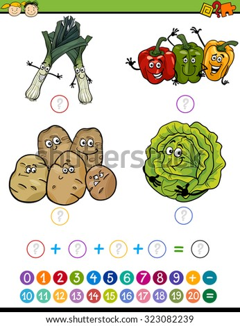 Cartoon Vector Illustration of Education Mathematical Addition Task for Preschool Children with Funny Vegetables - stock vector