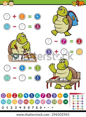 Cartoon Vector Illustration of Education Mathematical Algebra Game for Preschool Children - stock vector