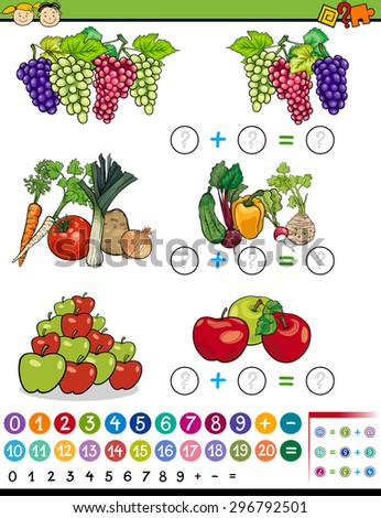 Cartoon Vector Illustration of Education Mathematical Algebra Game for Preschool Children with Fruits and Vegetables - stock vector
