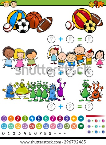 Cartoon Vector Illustration of Education Mathematical Calculating Game for Preschool Children - stock vector