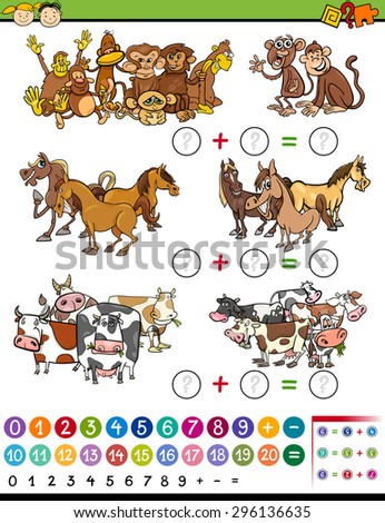 Cartoon Vector Illustration of Education Mathematical Counting Game for Preschool Children - stock vector
