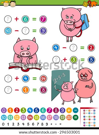 Cartoon Vector Illustration of Education Mathematical Game for Preschool Children with Pig Character - stock vector