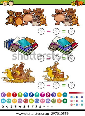 Cartoon Vector Illustration of Education Mathematical Subtraction Algebra Game for Preschool Children - stock vector