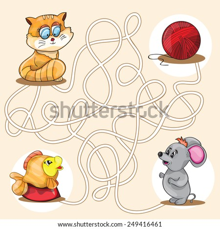 Cartoon Vector Illustration of Education Maze or Labyrinth Game for Preschool Children - stock vector