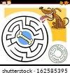 Cartoon Vector Illustration of Education Maze or Labyrinth Game for Preschool Children with Funny Dog and Dog Bone - stock vector