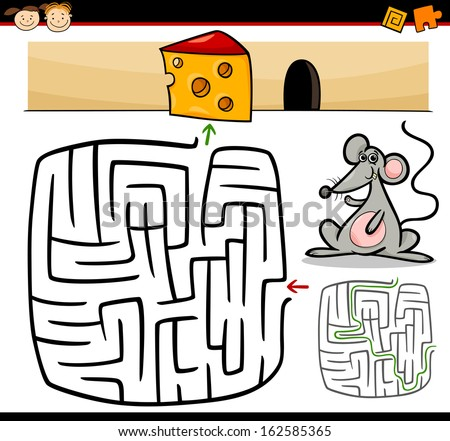 Cartoon Vector Illustration of Education Maze or Labyrinth Game for Preschool Children with Funny Mouse Animal and Cheese - stock vector