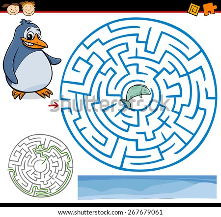 Cartoon Vector Illustration of Education Maze or Labyrinth Game for Preschool Children with Funny Penguin and Fish - stock vector
