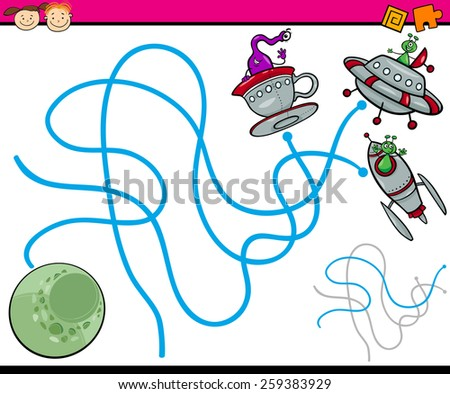Cartoon Vector Illustration of Education Path or Maze Game for Preschool Children with Aliens and Planet - stock vector